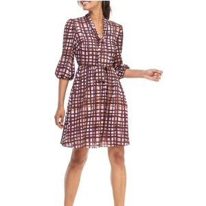 GAL MEETS GLAM Lindsey Painted Tie Neck Dress